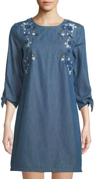 Cynthia Steffe Cece By Embroidered Chambray Shift Dress