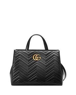Gucci GG Marmont Medium Matelassé Top-Handle Bag, Black - BLACK - STYLE
