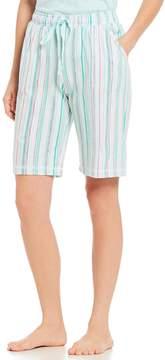 Karen Neuburger Stripe-Print Jersey Bermuda Sleep Shorts