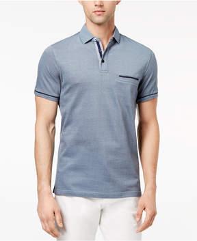 Ryan Seacrest Distinction Men's Slim-Fit Blue Printed-Collar Pocket Polo, Created for Macy's