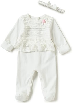 Edgehill Collection Baby Girls Newborn-6 Months Confetti Footed Coverall and Headband Set