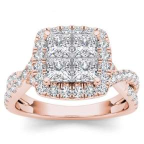 Imperial Star 2ct TW Diamond 14K Rose Gold Cluster Halo Twisted Shank Engagement ring