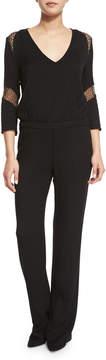 BA&SH Sake Lace-Inset 3/4-Sleeve Jumpsuit, Black