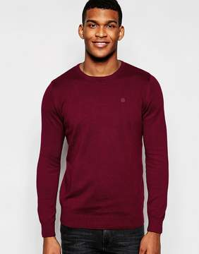 Blend of America Crew Knit Sweater Slim Fit in Burgundy