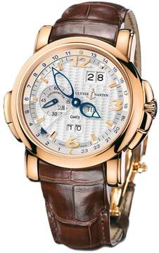 Ulysse Nardin GMT Perpetual Silver Dial 18kt Rose Gold Brown Leather Men's Watch 326-60-60