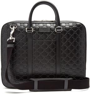 Gucci Logo-debossed leather briefcase