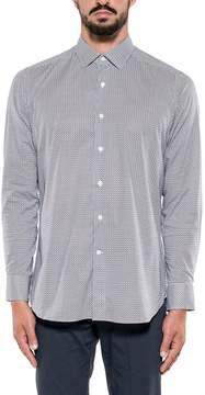 Bagutta White/blue Cotton Poplin Stretch Shirt