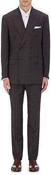 Luciano Barbera MEN'S PLAID WOOL DOUBLE-BREASTED SUIT
