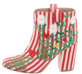 Laurence Dacade Striped Floral-Embroidered Ankle Boots