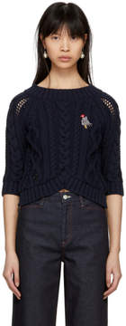 Carven Navy Cable Crop Sweater
