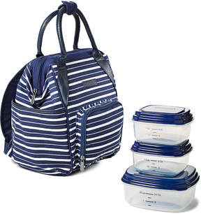 Fit & Fresh Navy Striped Piper Daypack & Reusable Container Set