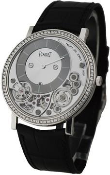 Piaget Altiplano Black and Silver Dial 18K White Gold Diamond Men's Watch GOA39112