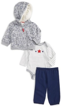 Little Me Infant Boy's Star Hoodie, Bodysuit & Pants Set