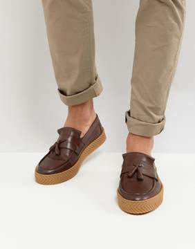 Asos Loafers In Brown Leather With Tassel And Gum Sole