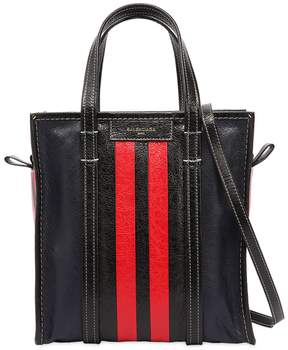 Balenciaga Small Bazar Striped Leather Tote Bag