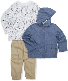 Little Me Little Boy's Three-Piece Chambray Jacket, Printed Cotton Top and Pants Set