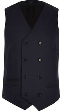 River Island Mens Navy double breasted vest