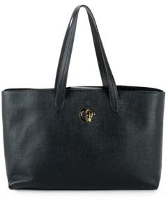 Versace Magnetic Snap Leather Tote