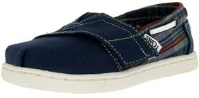 Toms Boy's Bimini Canvas Navy/Plaid Ankle-High Flat Shoe - 11M