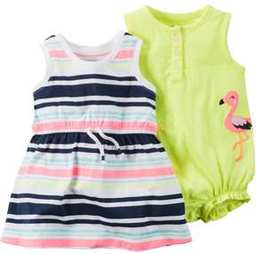 Carter's Baby Clothing Outfit Girls 2-Pack Romper & Dress Flamingo Dot & Stripe Pink/Yellow