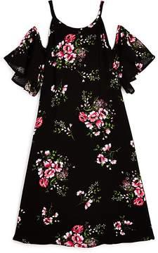 Aqua Girls' Cold-Shoulder Floral Dress, Big Kid - 100% Exclusive