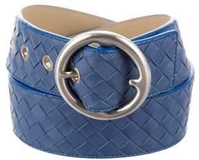 Bottega Veneta Intrecciato Leather Buckle Belt