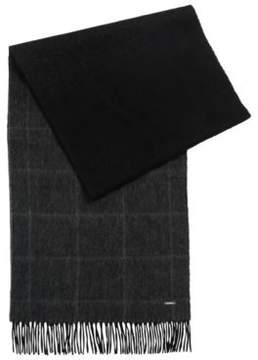 HUGO BOSS Windowpane Wool-Cashmere Scarf Hereno One Size Black