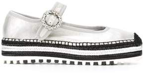 Marc by Marc Jacobs Women's Silver Leather Espadrilles.