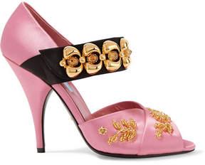 Prada Embellished Satin Sandals - Pink