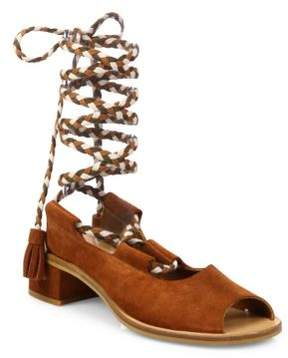 See by Chloe Palma Lace-Up Suede Block Heel Sandals