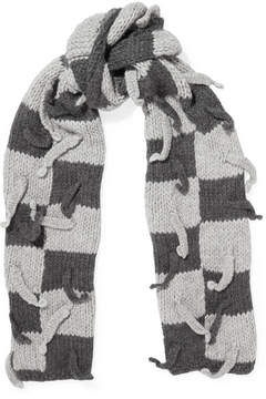 Loewe Embellished Checked Wool-blend Scarf - Gray