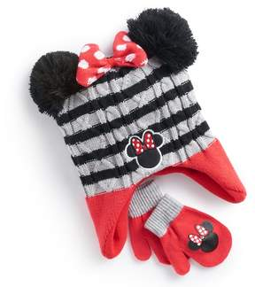 Disney Disney's Minnie Mouse Toddler Girl 3D Pom Ears Striped Trapper Hat & Mittens Set
