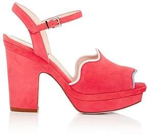 Fendi Women's Wave Suede Ankle-Strap Platform Sandals
