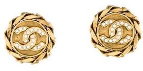 Chanel Crystal CC Clip-On Earrings