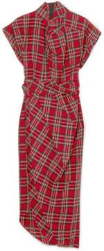 Awake Tartan Cotton Midi Dress - Red
