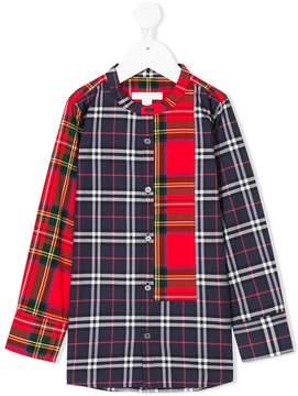 Burberry Panelled Tartan and Check Cotton Poplin Shirt