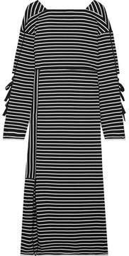 3.1 Phillip Lim Striped Cotton-jersey Midi Dress - Black