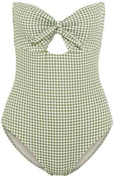Eberjey Betty Lola Cutout Gingham Bandeau Swimsuit - Light green