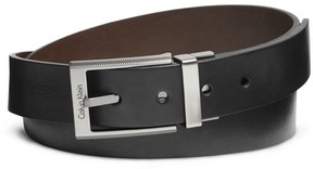 Calvin Klein textured square buckle leather dress belt