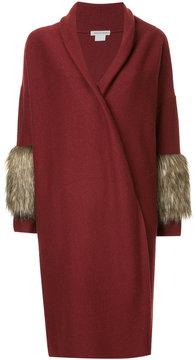 CITYSHOP furry trim sleeves coat