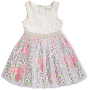 Sweet Heart Rose Glitter-Mesh Animal-Print Dress, Little Girls