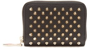 Christian Louboutin Panettone Zip Around Leather Coin Purse - Womens - Black Gold