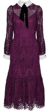 Temperley London New Moon Pussy-Bow Guipure Lace Midi Dress