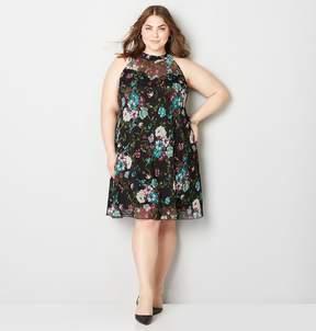 Avenue Floral Mesh A-Line Dress