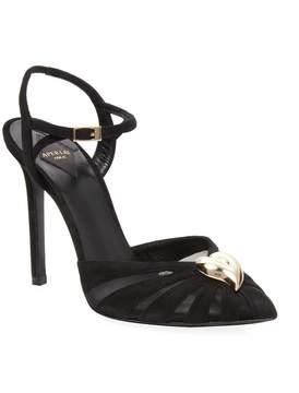 Aperlaï Women's Heart Leather Pointed Toe Sandal