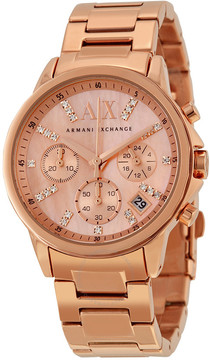 Armani Exchange Chronograph Rose Mother of Pearl Dial Ladies Watch