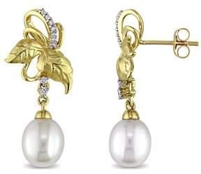 Laura Ashley Diamond And Pearl Leaf Stud Earrings.