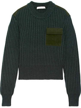 Dion Lee Suede-trimmed Wool And Cashmere-blend Sweater - Emerald