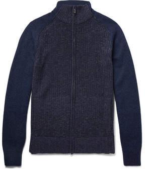 Loro Piana Ribbed Mélange Cashmere Coarsehair Zip-Up Sweater