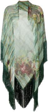 Alberta Ferretti fringed floral shawl